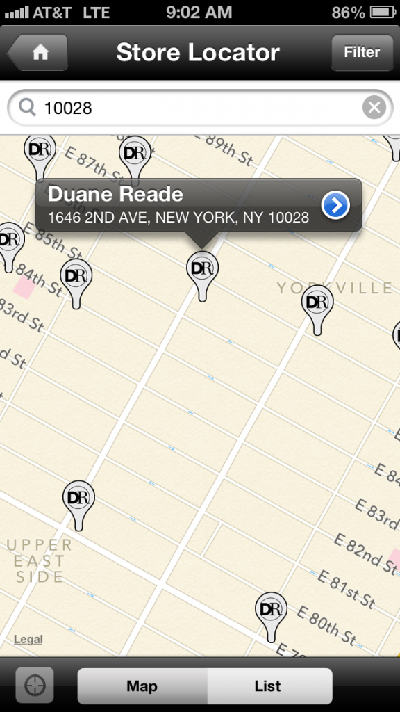 duane reade app map